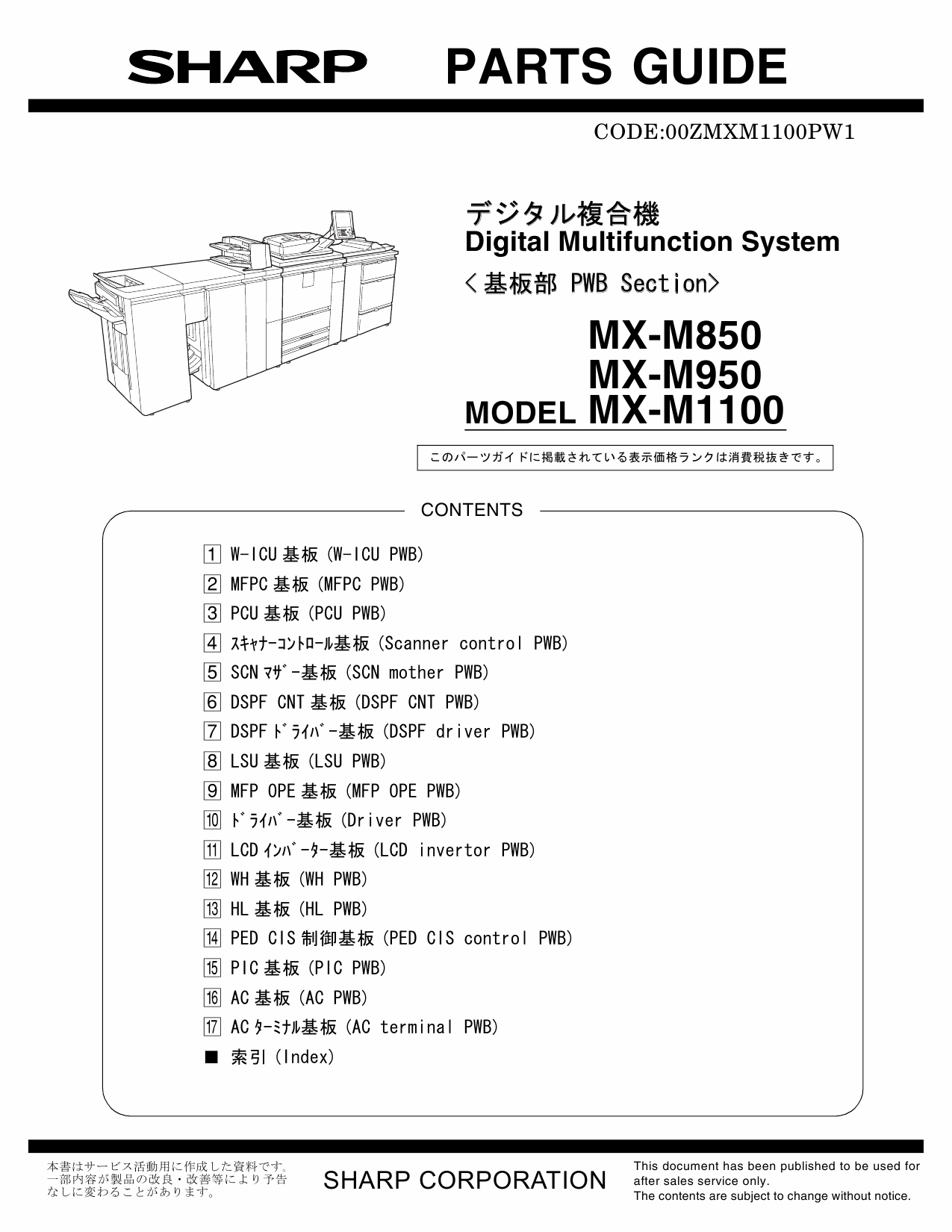SHARP MX M850 M950 M1100 PWB Parts Manual-1